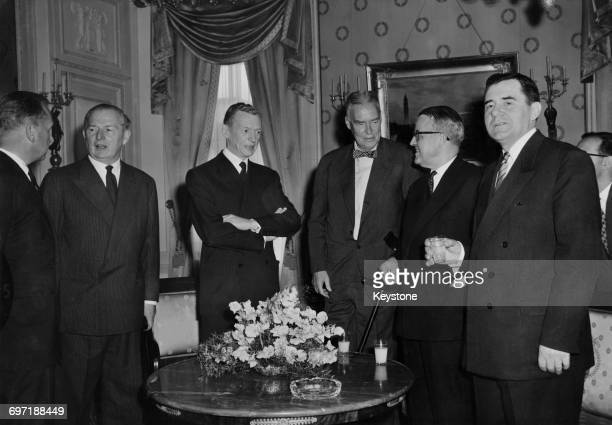 Guests at a Swiss foreign ministry reception during a conference of foreign ministers of the Big Four powers in Geneva Switzerland 11th May 1959 From...