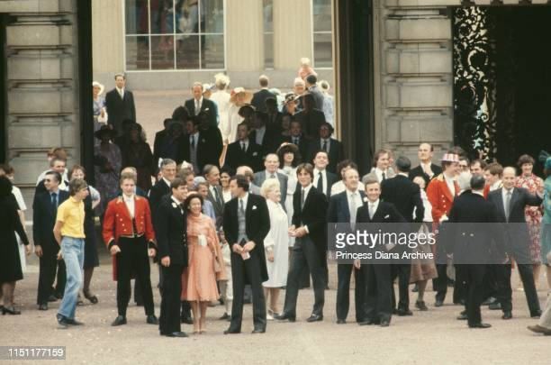 Guests at Buckingham Palace after the wedding of Prince Charles and Lady Diana Spencer in London, 29th July 1981. Princess Margaret and Prince Andrew...