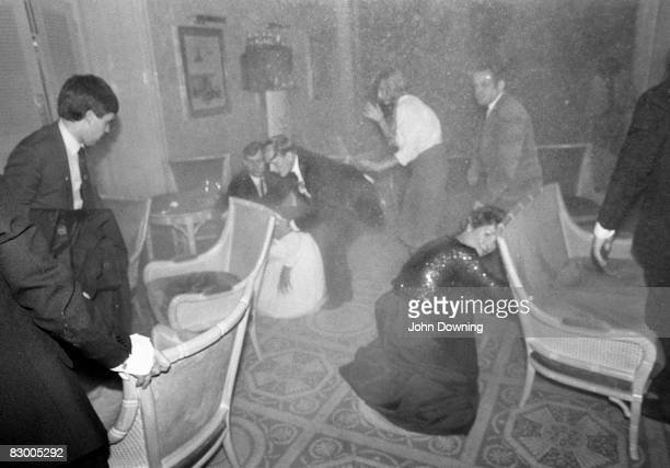 Guests at the Grand Hotel in Brighton after a bomb attack by the IRA 12th October 1984 British Prime Minister Margaret Thatcher and many other...