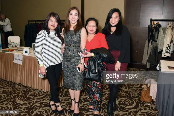 Guests at the House of iKons show during London Fashion Week February 2018 at Millenium Gloucester London Hotel on February 17 2018 in London England