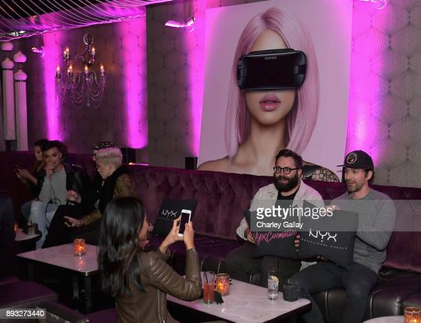 Guests at the NYX Professional Makeup and Samsung VR Launch Party at Beauty Essex on December 14 2017 in Los Angeles California
