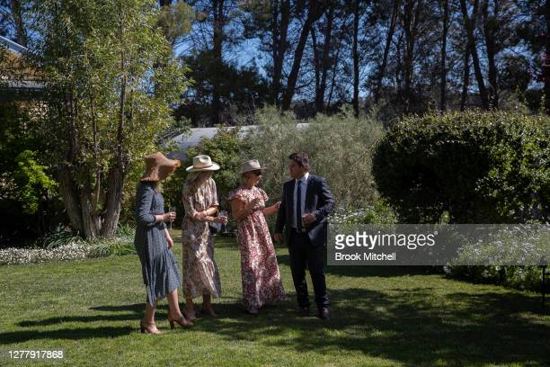 Guests at the wedding reception of farmer's Emily Doolan and Joe Read are pictured in Coonabarabran on October 01, 2020 in Coonabarabran, Australia....