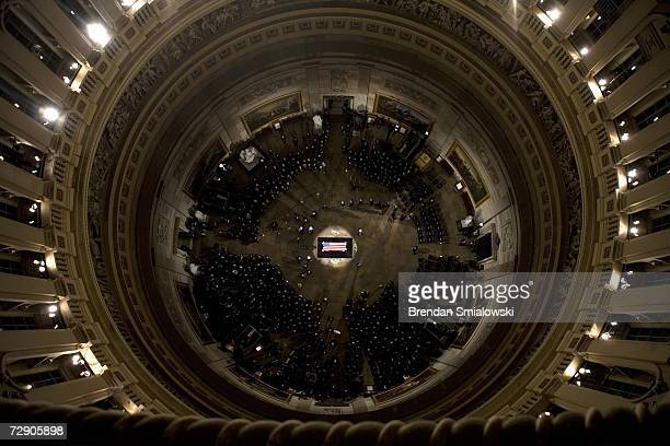 Guests attend a ceremony for former US President Gerald Ford in the Rotunda of the US Capitol December 30 2006 in Washington DC Gerald Ford the 38th...