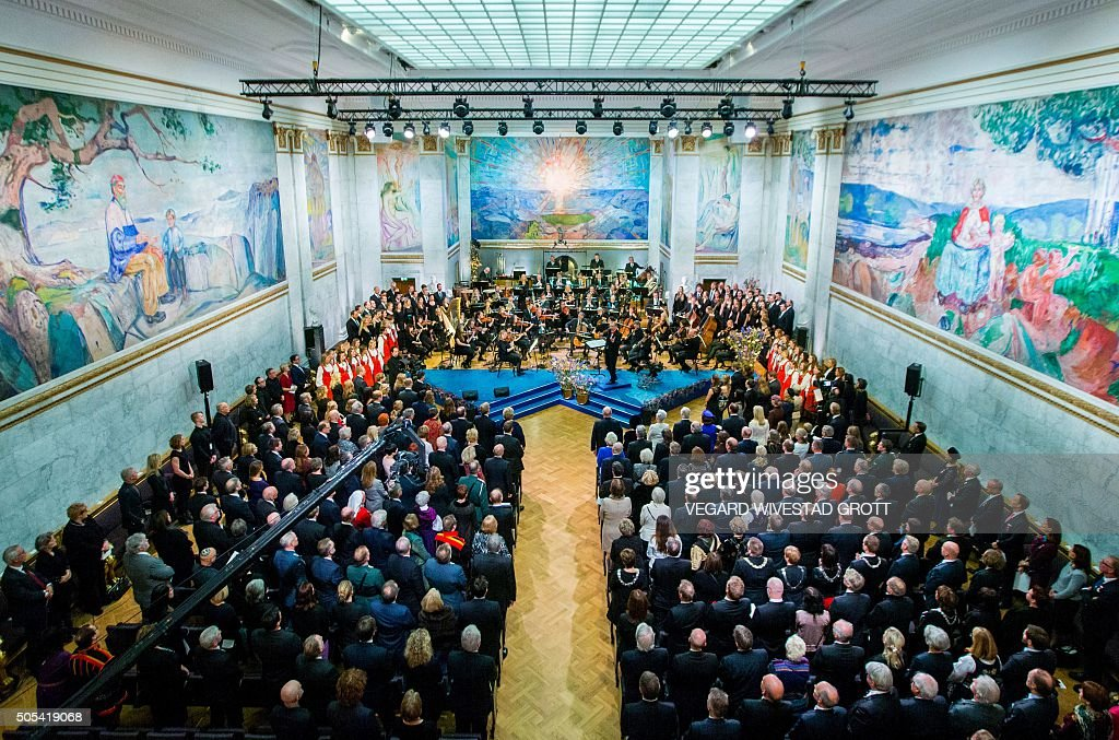 Guests attend a gala performance at the University Aula in Oslo celebrating the 25th anniversary of King Harald's ascension to the throne on January 17, 2016. SCANPIX / Vegard Wivestad GROTT / Norway OUT