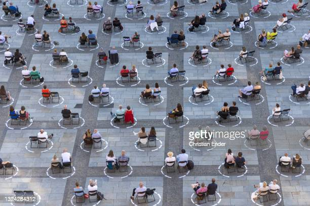 """Guests attend a live broadcast of the anniversary production of the opera """"Der Freischuetz"""" by Carl Maria von Weber, performed by the Catalan theatre..."""