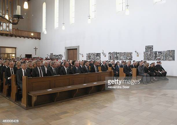 Guests attend a memorial service for recentlydeceased Stephan Beckenbauer at Hl Familie church on August 7 2015 in Munich Germany Stephan Beckenbauer...