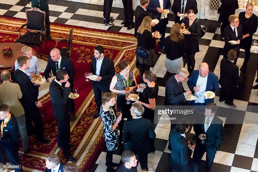 Guests attend a reception hosted by Queen Margarethe of Denmark for the Danish Olympic and Para-Olympic Teams at Christiansborg on October 14, 2016 in Copenhagen, Denmark.
