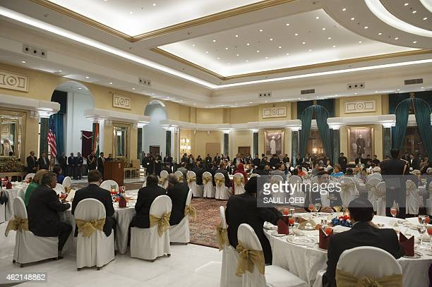 Guests attend a State Dinner in honor of US President Barack Obama at Rashtrapati Bhawan the Presidential Palace in New Delhi India January 25 2015...