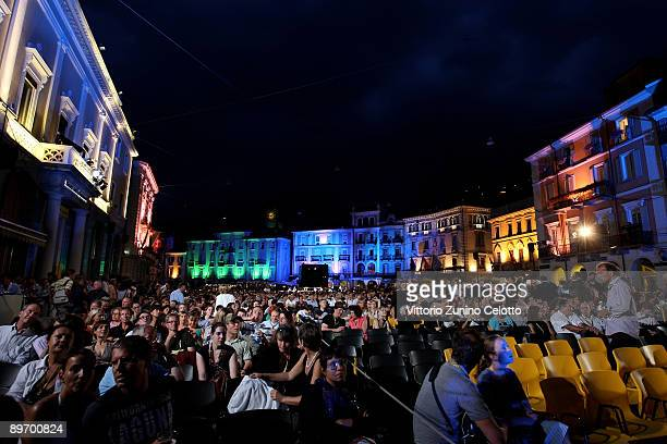 Guests attend an evening screening at the Piazza Grande on August 7 2009 in Locarno Switzerland