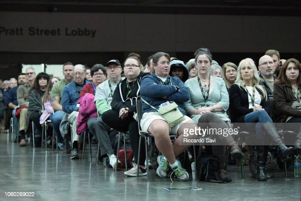 Guests attend Ancient Aliens Alien Engineering during day 3 of AlienCon Baltimore 2018 at Baltimore Convention Center on November 11 2018 in...