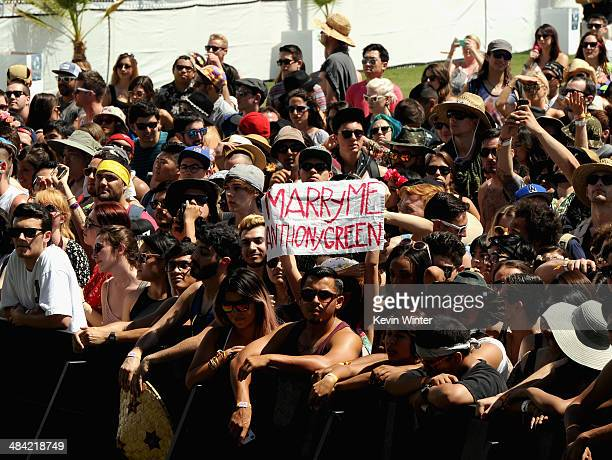 Guests attend Anthony Green performance onstage during day 1 of the 2014 Coachella Valley Music Arts Festival at the Empire Polo Club on April 11...