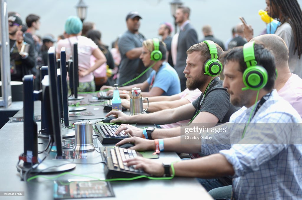 Guests attend as Bethesda Softworks shows off new video game experiences at its E3 Showcase and Bethesdaland event at the Los Angeles Center Studios ahead of the Electronic Entertainment Expo (E3) happening at the Los Angeles Convention Center from June 13-15, 2017, on June 11, 2017 in Los Angeles, California.