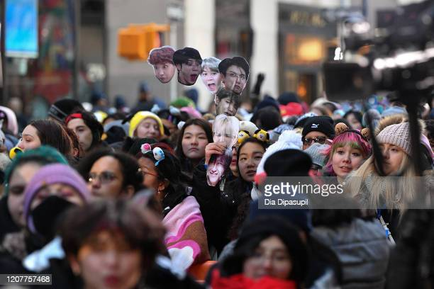 """Guests attend as the K-pop boy band BTS visits the """"Today"""" Show at Rockefeller Plaza on February 21, 2020 in New York City."""