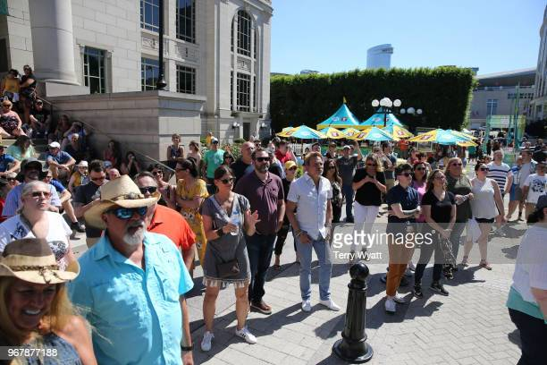 Guests attend CMT Music Awards and BarS Block Party at Schermerhorn Symphony Center Plaza on June 5 2018 in Nashville Tennessee