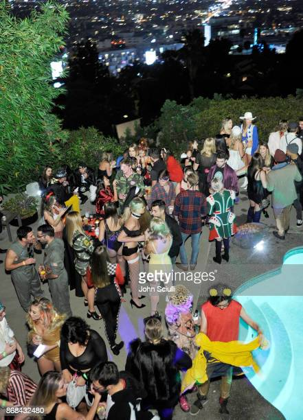 Guests attend Diego Boneta's David Bernon's Halloween at the Hedges by Chivas Regal on October 30 2017 in West Hollywood California
