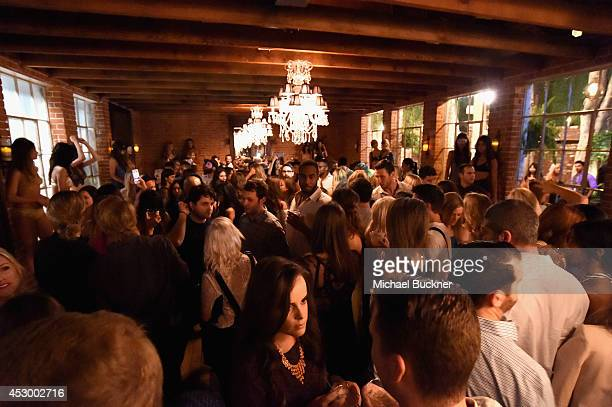 Guests attend For Love and Lemons annual SKIVVIES party cohosted by Too Faced and performance by The Shoe at The Carondelet House on July 31 2014 in...
