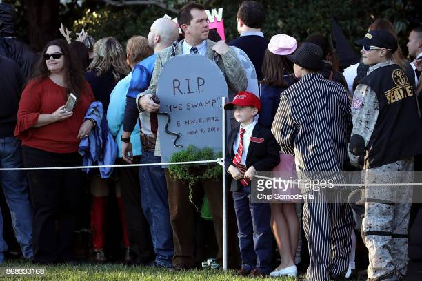 Guests attend Halloween at the White House on the South Lawn October 30 2017 in Washington DC President Donald Trump and first lady Melania Trump...