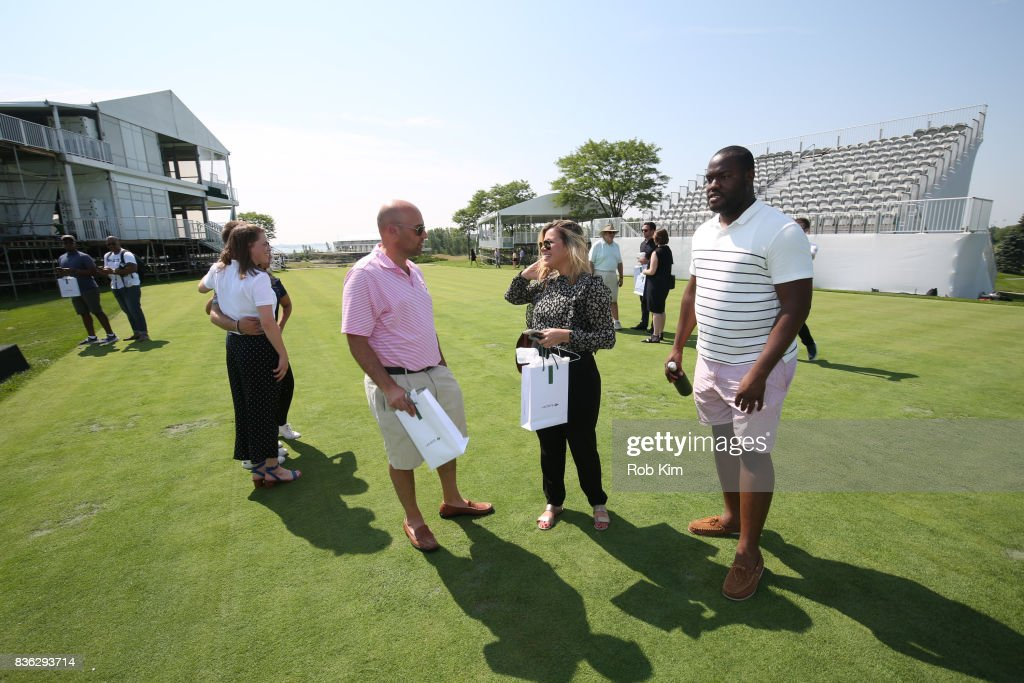 Guests attend LACOSTE 'Official Apparel Provider' unveiling during 2017 Presidents Cup Media Day at Liberty National Golf Club on August 21, 2017 in Jersey City, NJ.