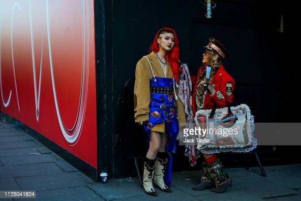 Guests attend London Fashion Week February 2019 on February 15, 2019 in London, England.