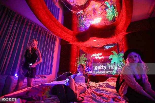 Guests attend 'Motelscape' an interactive fantasy performance and installation presented by Marina Fini Signe Pierce Sierra Grace and Sydney Krause...