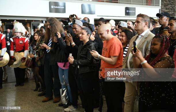 """Guests attend MTV """"VMAs"""" Press Conference at Prudential Center Plaza on May 06, 2019 in Newark, New Jersey."""