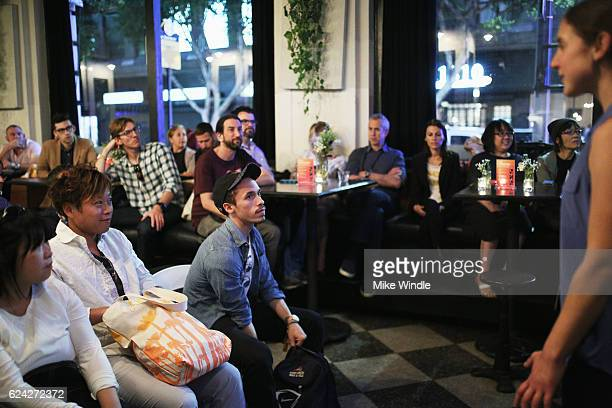 Guests attend Personalization ''The Special Sauce' of the Sharing Economy at the PeertoPeer sessions at the Pattern Bar during Airbnb Open LA Day 2...