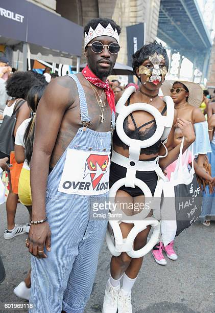 Guests attend the 2016 Essence Street Style Block Party at DUMBO on September 10 2016 in Brooklyn Borough of New York City