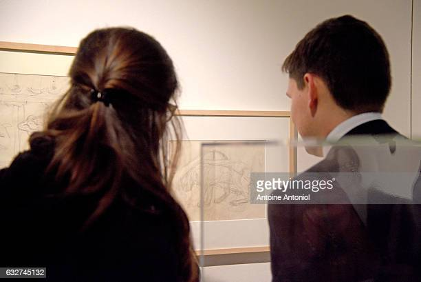 Guests attend the Alberto Giacometti exhibition at Sotheby's on January 25 2017 in Paris France