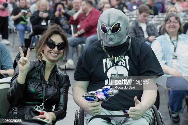 Guests attend the Ancient Aliens Alien Encounters panel during day 2 of AlienCon Baltimore 2018 at Baltimore Convention Center on November 10 2018 in...