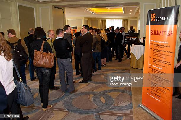 Guests attend the AppNexus Summit SF at the Four Seasons Hotel on April 14 2011 in San Francisco California