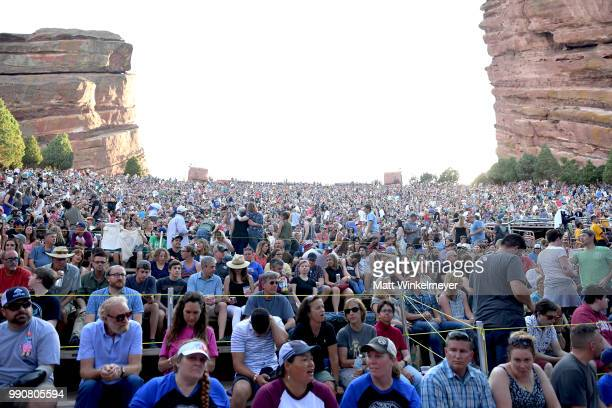 Guests attend The Avett Brothers at Red Rocks Amphitheatre on July 1 2018 in Morrison Colorado