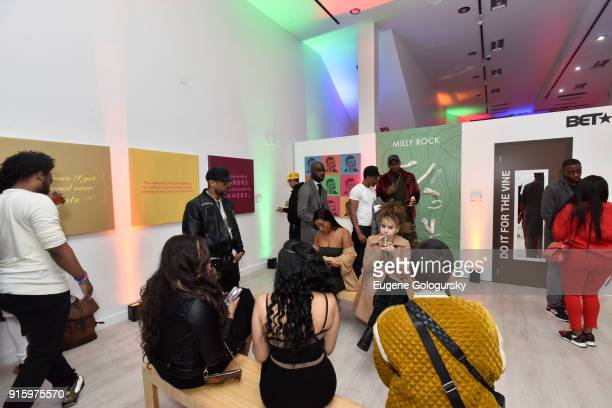 Guests attend the BET NETWORKS Hosting of the Opening Night Reception For 'THE MUSEUM OF MEME' In Celebration Of 'THE BET SOCIAL AWARDS' at The...