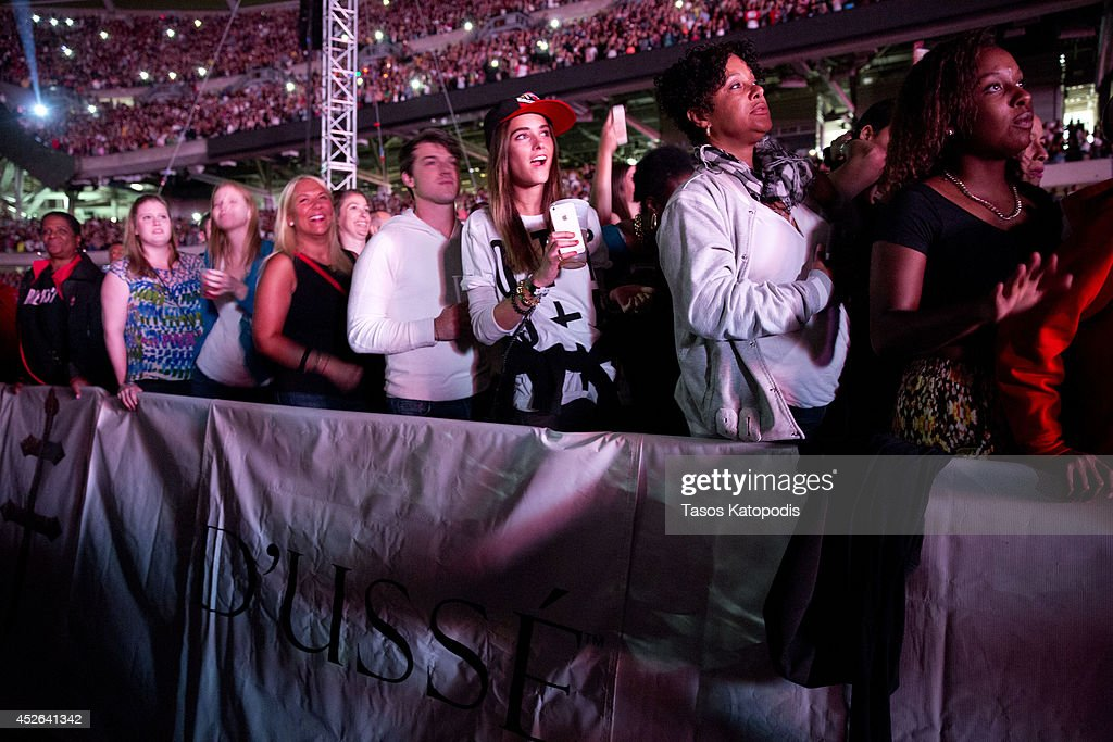 Guests attend the D'USSE VIP Riser and Lounge at On The Run Tour Chicago at Soldier Field on July 24, 2014 in Chicago, Illinois.
