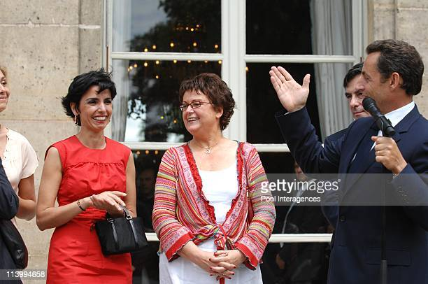 Guests attend the Elysee garden party In Paris France On July 14 2007French President Nicolas Sarkozy delivers his speech with members of the...