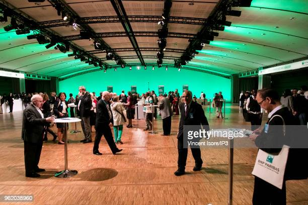 Guests attend the French banking group BNP Paribas general shareholders meeting on May 24 2018 in Paris France The largest French bank present in 74...