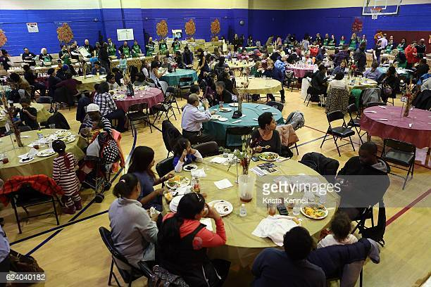 Guests attend the Jean Shafiroff Jay Moorhead Underwrite Annual Community Thanksgiving Dinner at NYC Mission Societyat Minisink Townhouse on November...