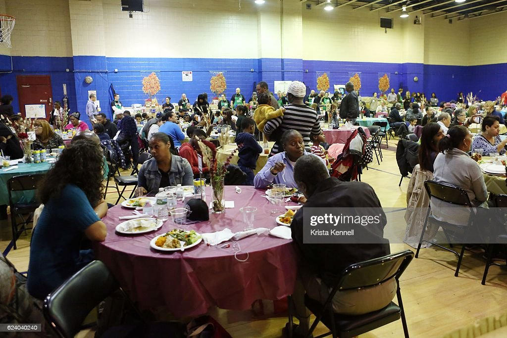 Guests attend the Jean Shafiroff & Jay Moorhead Underwrite Annual Community Thanksgiving Dinner at NYC Mission Societyat Minisink Townhouse on November 17, 2016 in New York City.