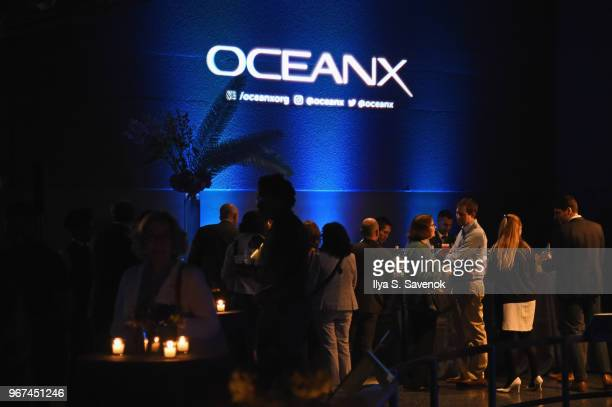 Guests attend the Launch Of OceanX a bold new initiative for ocean exploration at the American Museum of Natural History on June 4 2018 in New York...