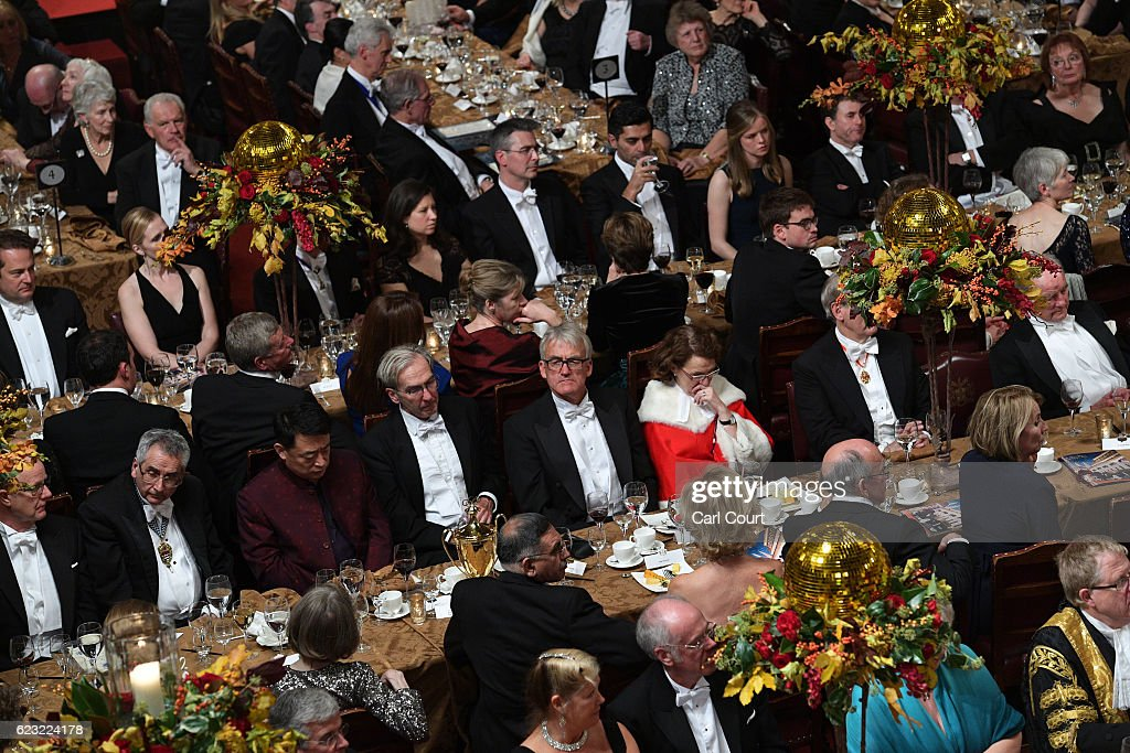 Guests attend the Lord Mayor's Banquet at Guildhall on November 14, 2016 in London, England. The Lord Mayor of London, Andrew Parmley, is hosting the annual Lord Mayor's Banquet in London's Guildhall which will feature speeches from the Prime Minister and the Archbishop of Canterbury. Andrew Parmley was recently elected 689th Lord Mayor of the City of London, a role that has been in existence since 1189.