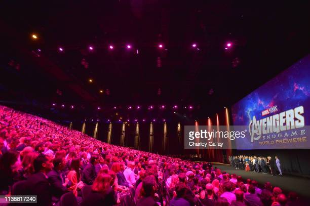 Guests attend the Los Angeles World Premiere of Marvel Studios' Avengers Endgame at the Los Angeles Convention Center on April 23 2019 in Los Angeles...