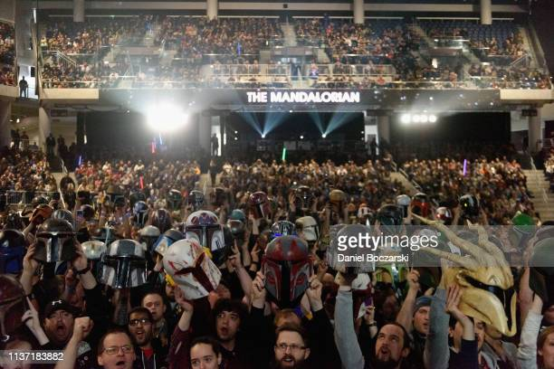 """Guests attend """"The Mandalorian"""" panel at the Star Wars Celebration at McCormick Place Convention Center on April 14, 2019 in Chicago, Illinois."""