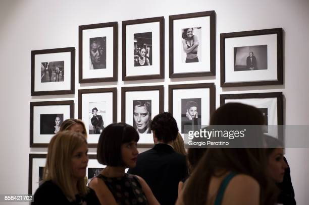 Guests attend the opening gala of 'A Different Vision On Fashion Photography' By Peter Lindbergh Exhibition at Reggia di Venaria Reale on October 6...