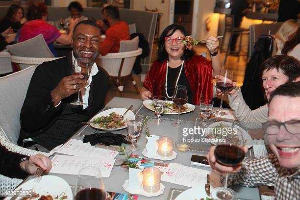 Guests attend the Retro Feast Dinner hosted by Ben Ford Ashley Christensen and Jonathan Lane as a part of The New York Times Dinner Series during the...