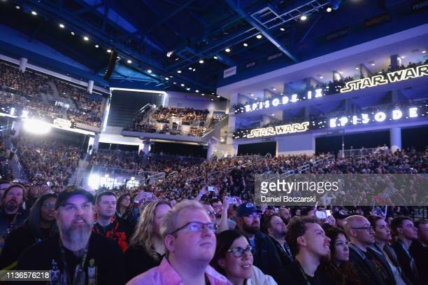 """Guests attend """"The Rise of Skywalker"""" panel at the Star Wars Celebration at McCormick Place Convention Center on April 12, 2019 in Chicago, Illinois."""