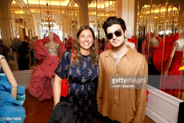 Guests attend the Schiaparelli Cocktail to celebrate Daniel Roseberry first Haute Couture Collection as part of Paris Fashion Week on July 01 2019 in...