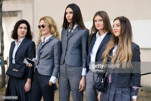 Guests attend the Thom Browne show as part of the Paris Fashion Week Womenswear Spring/Summer 2019 on September 30 2018 in Paris France