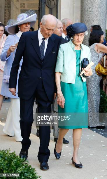 Guests attend the wedding of Prince Amedeo Of Belgium and Elisabetta Maria Rosboch Von Wolkenstein at Basilica Santa Maria in Trastevere on July 5...