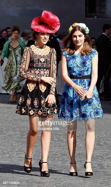 Guests attend the wedding of Prince Amedeo Of Belgium and Elisabetta Maria Rosboch Von Wolkenstein at Basilica Santa Maria in Trastevere on July 5...