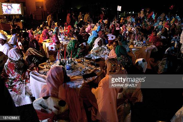 Guests attend wedding of Chadian President Idriss Deby and Amani doughter of Sudan's Janjaweed militia leader Mussa Hilal in Khartoum on January 20...