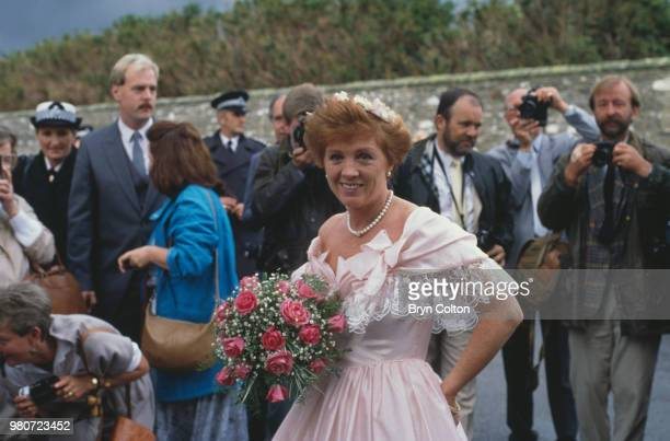 Guests attending the wedding of English tabloid journalist and broadcaster Derek Jameson and Ellen Petrie Essex UK 9th March 1988
